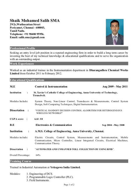 Curriculum Vitae Sles For Fresher Engineering Students Fresher Of Instrumentation Engineer