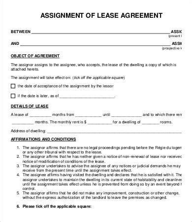 assignment of lease template assignment agreement template 9 free word pdf format