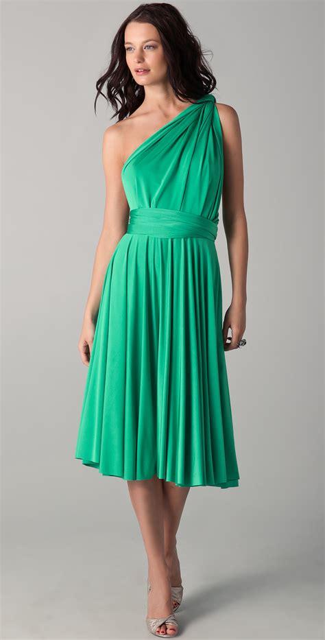 Three Of The Best Tea Dresses twobirds tea length convertible dress dove in green