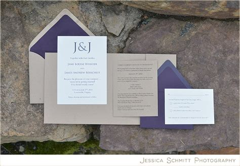 craft paper and purple invitation wedding