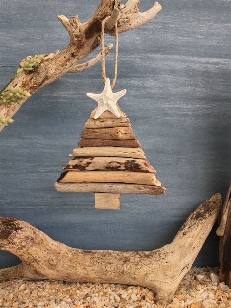 driftwood christmas tree ornament small coastal decor