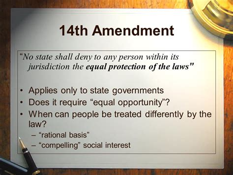 14th Amendment Worksheet by The 14th Amendment To The U S Constitution Ppt