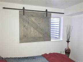 barn door window diy barn door style window covering sawdust