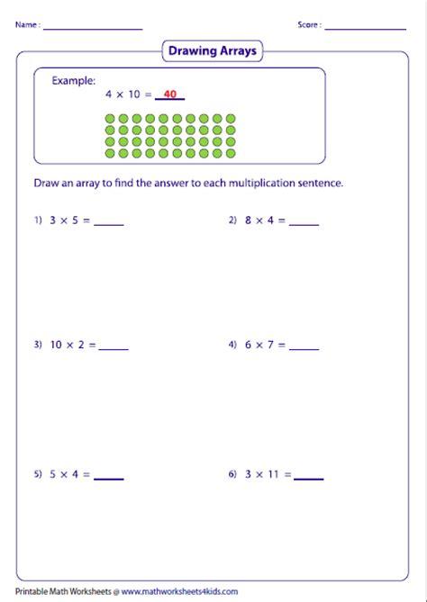 Array Worksheets by Multiplication Models Worksheets