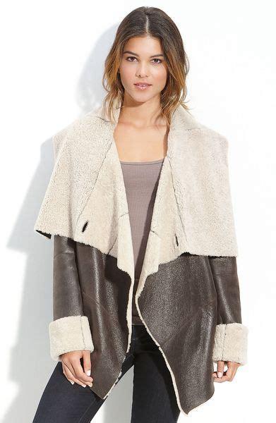 shearling drape coat mackage drape front shearling coat in brown espresso