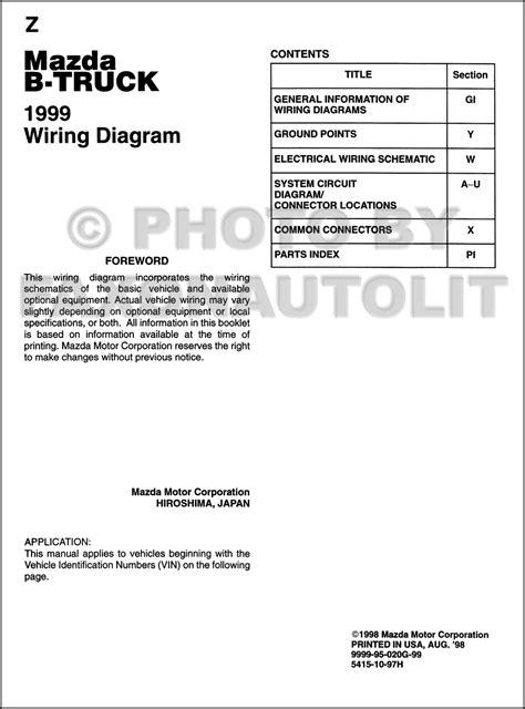 how to download repair manuals 1999 mazda b series head up display 1999 mazda b4000 b3000 b2500 pickup truck wiring diagram manual original