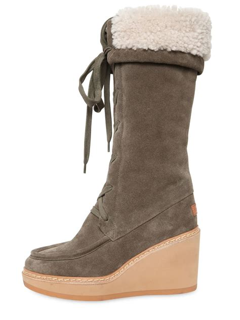see by boots see by chlo 233 80mm suede shearling wedge boots in brown