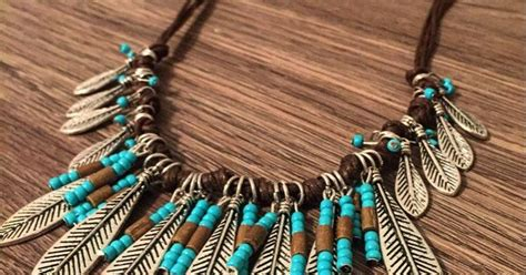 Kalung Fashion Etsy Bohemian Feather Drop Water Pendant Simple 3 feather necklace feathers necklace turquoise bib necklace statement necklace beaded