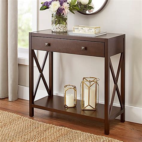 bed bath and beyond westbury westbury console table in brown bed bath beyond