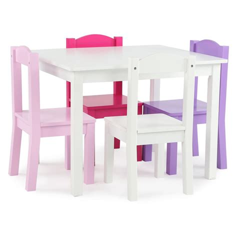 childrens table chair sets tot tutors friends 5 white pink purple table