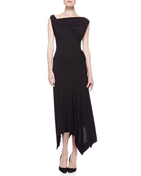 twist drape dress donna karan long twist drape dress black
