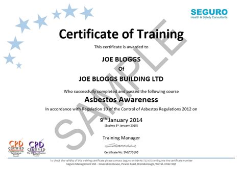 cpd certificate template asbestos awareness elearning seguro