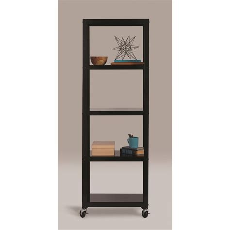 hirsh 5 shelf rolling bookcase in black 21622