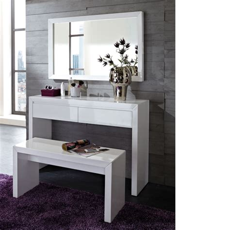 fino high gloss white dressing table set with mirror 18386
