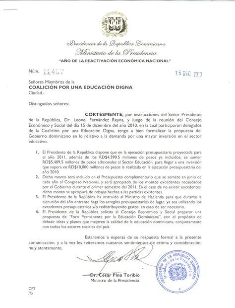 carta formal qe es carta recibida desde el ejecutivo y respuesta formal de la coalicion coalici 243 n educaci 243 n digna