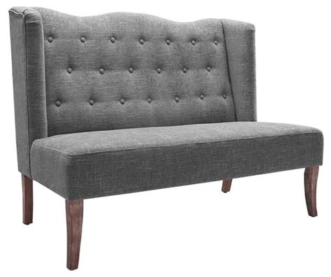 upholstered settee bench settee with tufted back transitional upholstered
