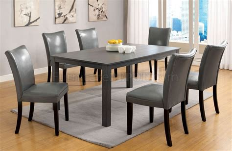 Grey Dining Room Table Cm3179t Kenton I 7pc Dining Set In Gray
