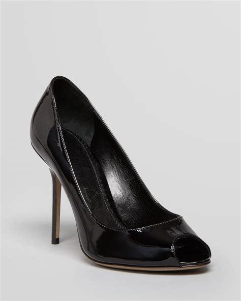 burberry high heels burberry peep toe pumps kensal high heel in black lyst
