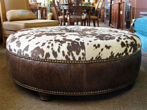 cowhide coffee table ottoman unique large style coffee table size ottoman