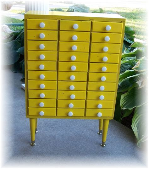 Yellow Storage Cabinet Reserved For Storage Cabinet 30 Drawer Handmade Upcycled Renewed Yellow With White