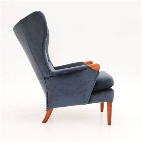 Velvet Wingback Chair by Vintage Velvet Wingback Chair From Knoll 1960s At