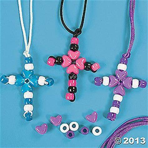 bead cross necklace craft bead cross necklace using pony sunday school craft