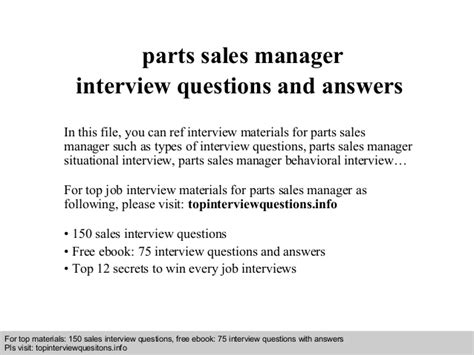 parts sales manager interview questions  answers