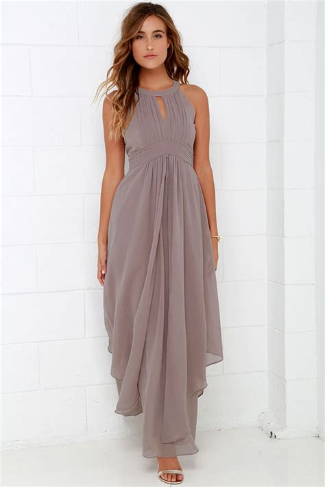 Firly Simple Maxi beautiful taupe maxi dress homecoming dress prom