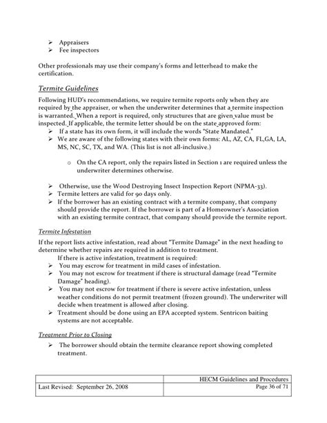 Mortgagee Letter Termite mortgage hecm loan guidelines and procedures