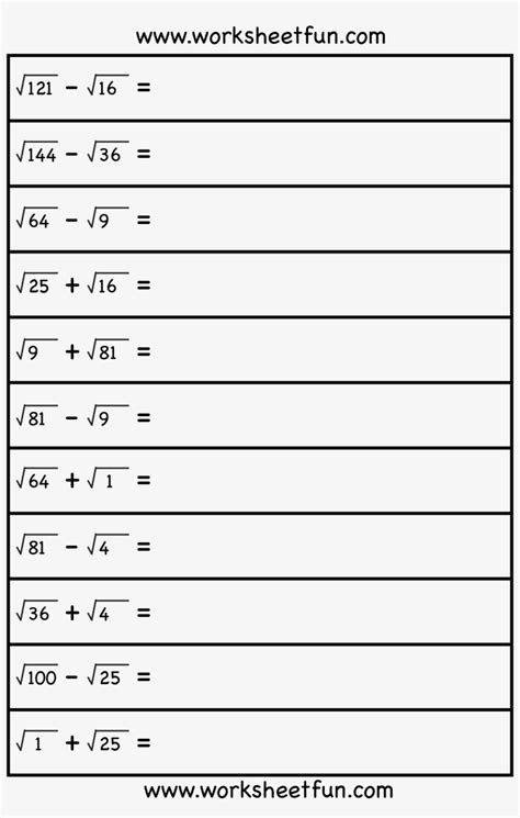Square Root 8Th Grade Math Free Worksheets On Square Roots
