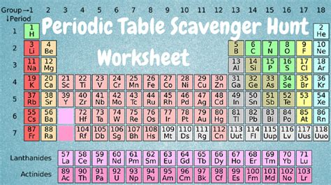 Periodic Table Scavenger Hunt worksheets periodic table scavenger hunt worksheet