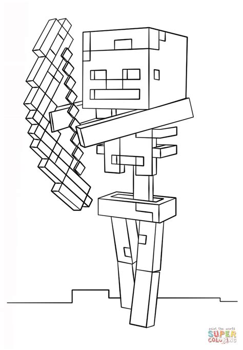 minecraft coloring pages bow and arrow minecraft skeleton with bow coloring page free printable