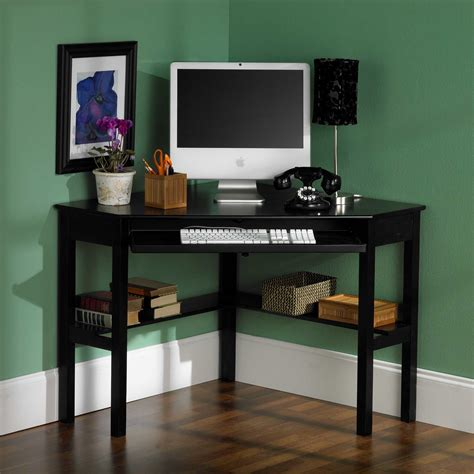 small black home office desk in the corner room with