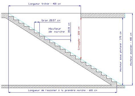 Hauteur Sous Plafond Reglementaire by Calcul D Un Escalier Grand Escalier