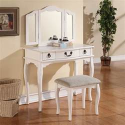 Makeup Vanity Table Set Tri Folding Mirror White Wood Vanity Set Makeup Table