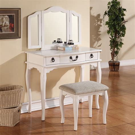 White Wood Vanity Set tri folding mirror white wood vanity set makeup table