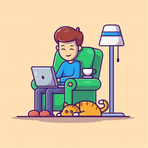 man working  laptop illustration work  home mascot
