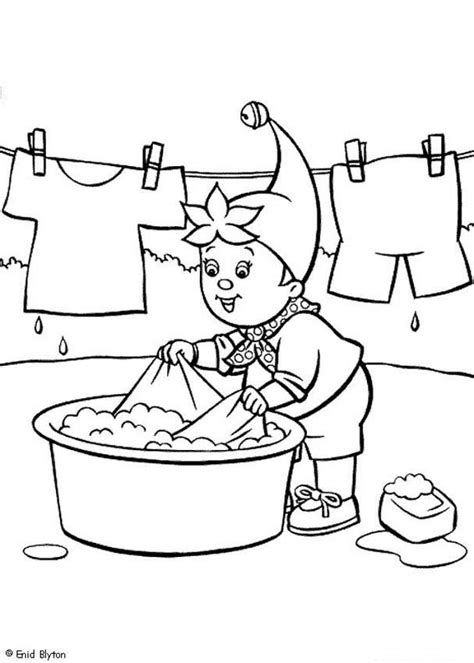 Washing Coloring Pages noddy washing his clothes coloring pages hellokids