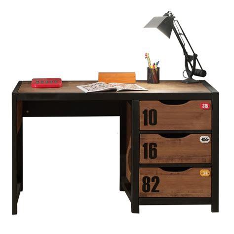 bureau enfant ado meuble bureau style industriel marron et noir chambre d