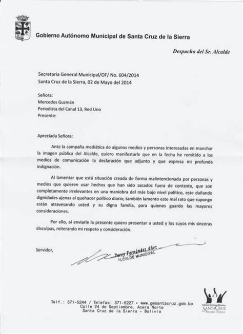 ejemplo carta de disculpa carta de disculpas de percy fernandez a periodista