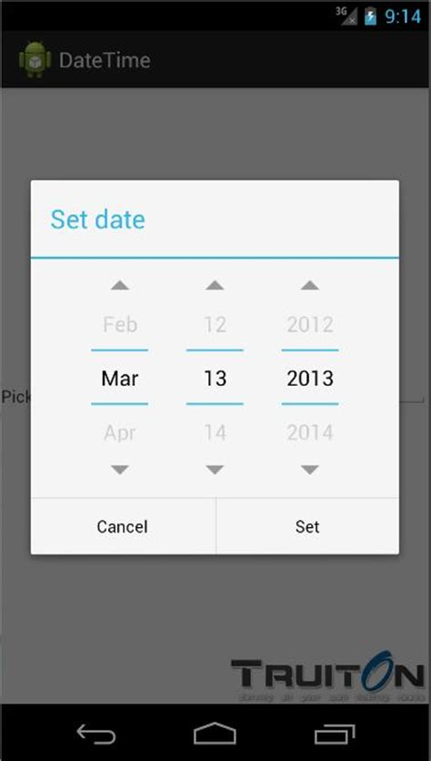 android datepicker android date time from edittext onclick event truiton