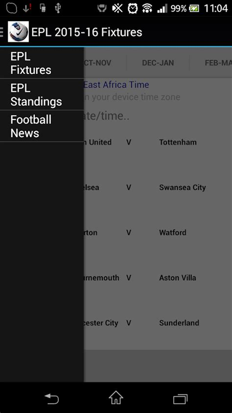 epl table fixtures results epl 2015 16 fixtures android apps on google play