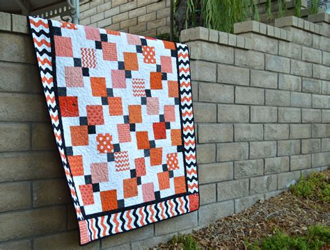 quilt pattern disappearing nine patch modern black orange quilt blogger s quilt festival entry