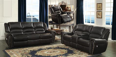 Homelegance Center Hill Power Reclining Sofa Set Black Black Reclining Sofa Set