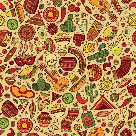 free mexican pattern background cartoon hand drawn latin american mexican seamless