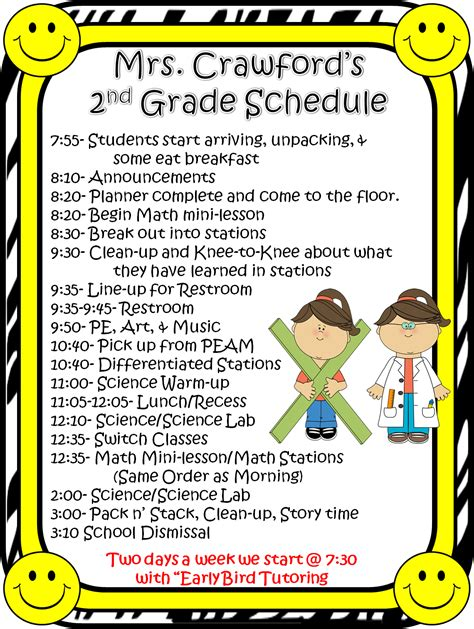 2nd Grade Classroom Schedule Pictures To Pin On Pinterest Pinsdaddy Second Grade Schedule Template
