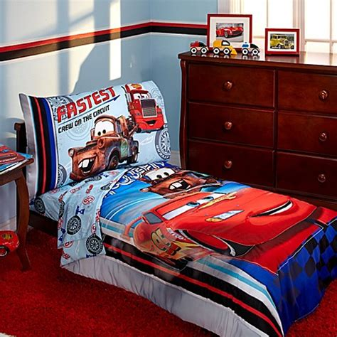 disney cars toddler bed set disney 174 cars fastest team 4 piece toddler bedding set