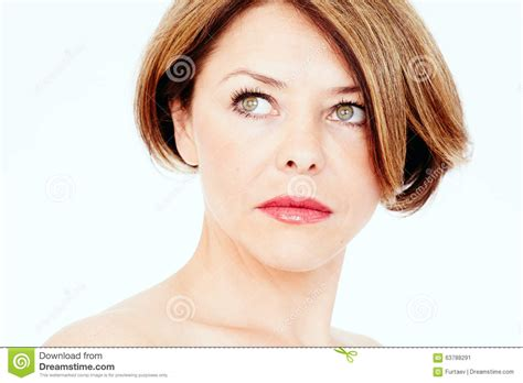 attractive middle aged women dark hair mature woman portrait stock photo image 63788291