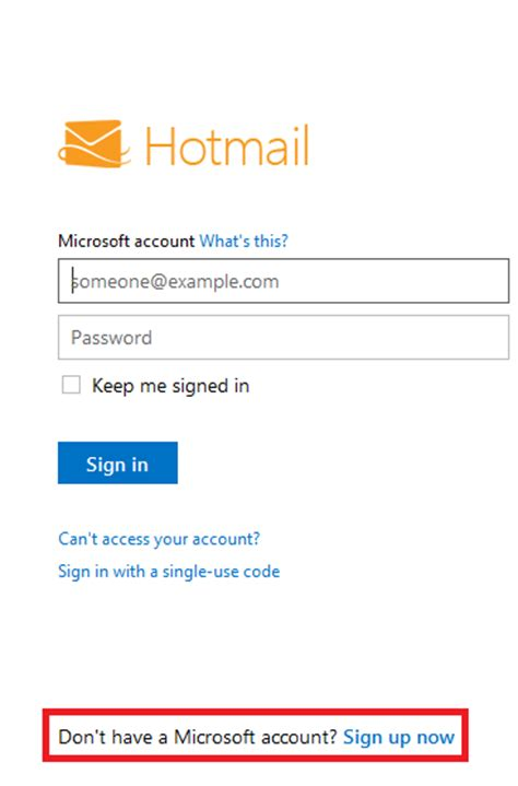 sign    hotmail  email address account