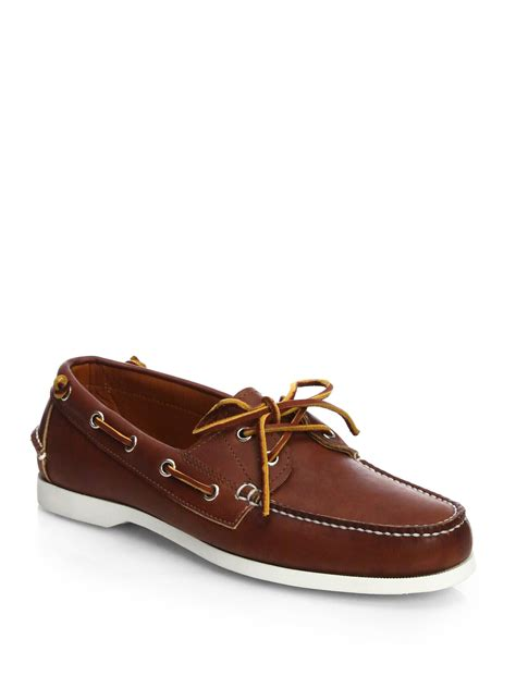 ralph telford leather boat shoes in brown for